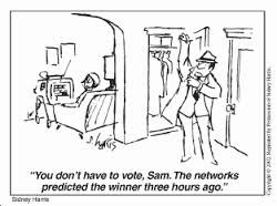 This cartoon is saying that they don't have to vote because the media already did. This is explaining how the media is taking over our lives and we are becoming lazy